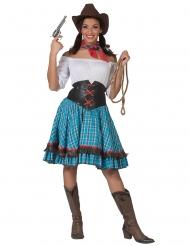 Ruudullinen cowgirl-asu naiselle