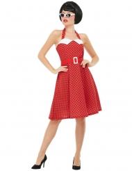 50-luvun punainen rockabilly-mekko naiselle