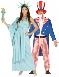 Vapauden patsas ja amerikkalainen patriootti- pariasu