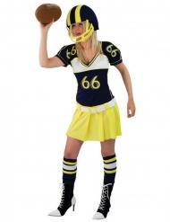 Keltainen amerikkalaisen jalkapallon pelaajan naamiaisasu naiselle