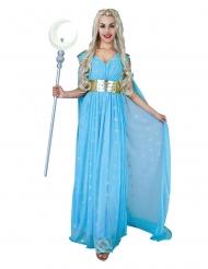 Sininen keskiaikaisen prinsessa-asu naiselle