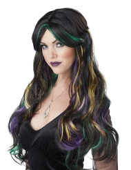 Musta peruukki värikkäillä raidoilla naiselle