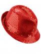 Chapeau borsalino à sequins rouge adulte
