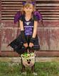 Déguisement chauve-souris noire et violette fille-4