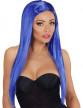 Perruque longue glamour bleue femme