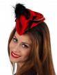 Serre-tête mini chapeau pirate rouge