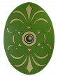 Bouclier romain vert et doré en bois 35 X 49 cm