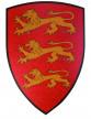 Bouclier rouge lion en bois 36 X 50 cm