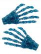 2 barettes à cheveux mains squelette bleues pailletées