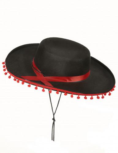 Espanjalainen hattu musta ja punainen