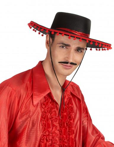 Espanjalainen hattu musta ja punainen-1