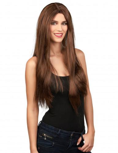 Naisten pitkä ruskea peruukki