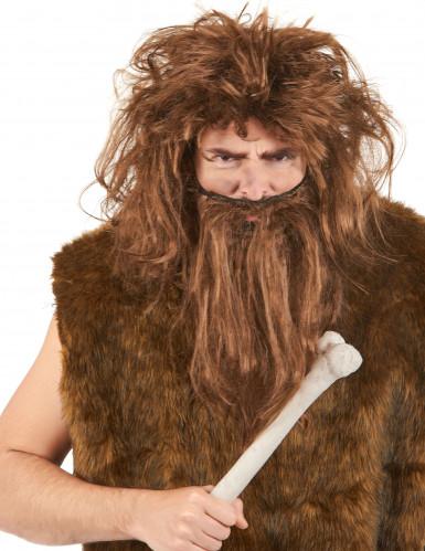 Miesten ruskea peruukki ja parta Luolamies