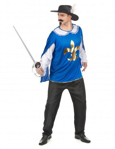 Miesten sininen naamiaisasu muskettisoturi-1