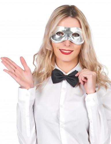Aikuisten metallinhohtoinen hopeinen naamio