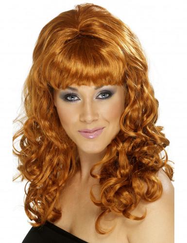 Naisten peruukki kuparin värisillä pitkillä hiuksilla