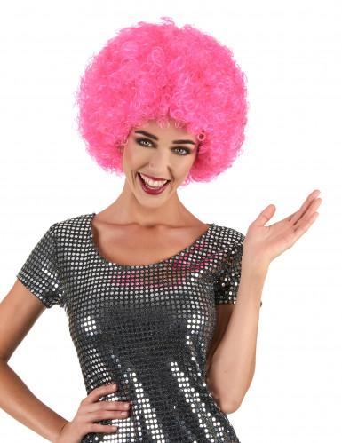 Aikuisten peruukki vaaleanpunainen disco afro