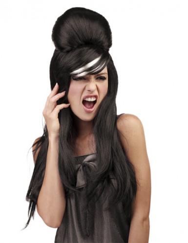 Musta poptähden peruukki naiselle