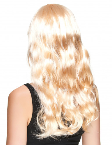 Pitkä vaalea peruukki naisille-1