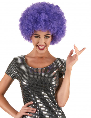 Aikuisten violetti afro disco peruukki