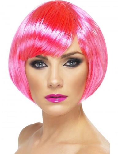 Naisten kabareetyylinen peruukki neonvaaleanpunaisilla hiuksilla