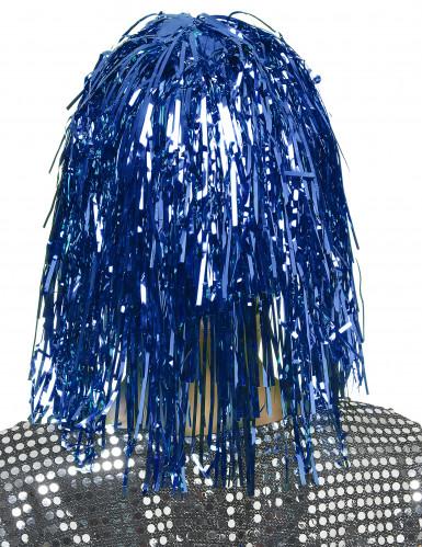 Aikuisten peruukki Metallinen sininen-1