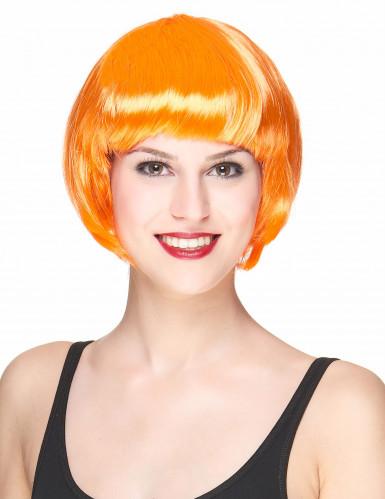 Lyhyt oranssi peruukki naisille