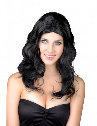 Pitkä musta peruukki naisille