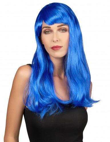 Pitkä sininen peruukki