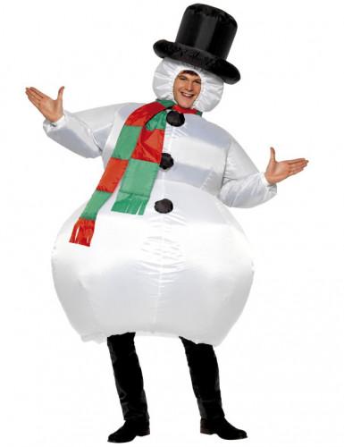 Aikuisten naamiaisasu Puhallettava lumiukko