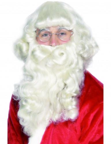 Joulupukin realistinen parta ja peruukki
