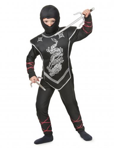Hopeinen lohikäärme - Ninjan naamiaisasu lapselle-1
