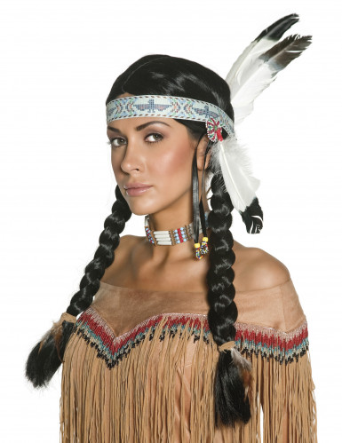 Naisten alkuperäisasukkaan peruukki, musta