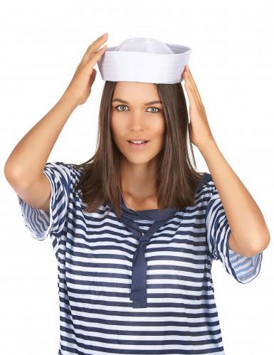 Valkoinen merimieslakki aikuisille-2