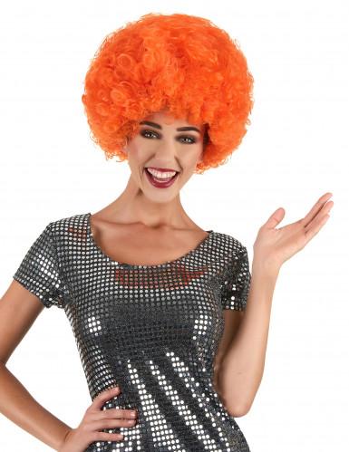Tuuhea oranssi afroperuukki/ klovnin peruukki aikuisille
