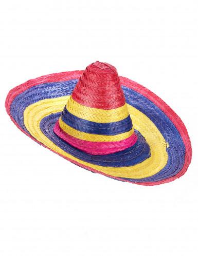 Monivärinen sombrero-hattu aikuisille