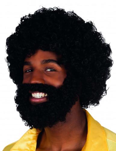 Musta kiharainen psruukki ja parta aikuisille