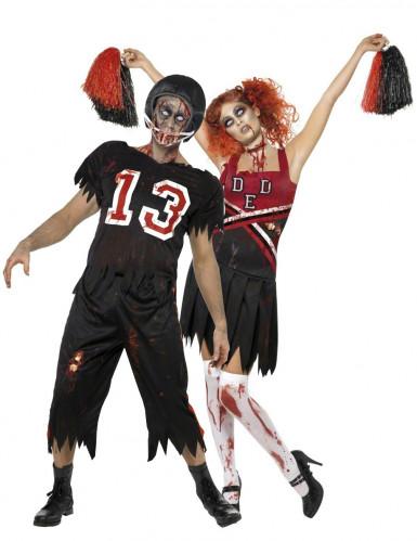 Amerikkalaisen jalkapallon pelaajan ja cheerleaderin zombiasut