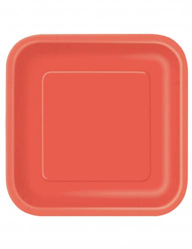 Punaiset neliönmuotoiset pahvilautaset, 14 kpl