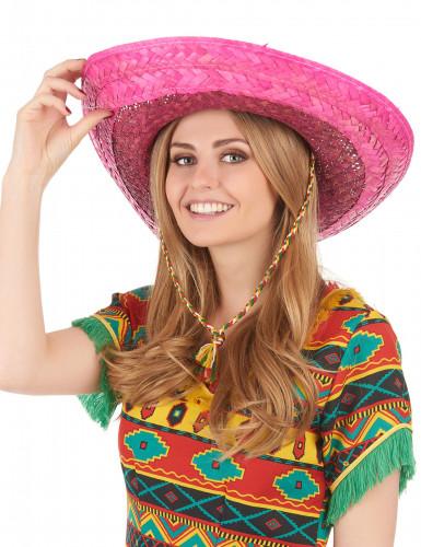 Vaaleanpunainen meksikolainen sombrero-hattu aikuisille-2