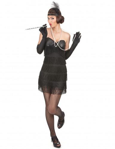 Musta charleston mekko paljeteilla ja hapsuilla - Naamiaisasut aikuisille