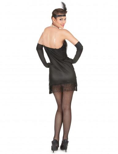Musta charleston mekko paljeteilla ja hapsuilla - Naamiaisasut aikuisille-2