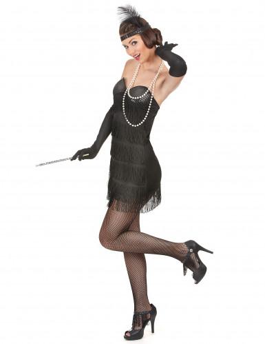 Musta charleston mekko paljeteilla ja hapsuilla - Naamiaisasut aikuisille-1