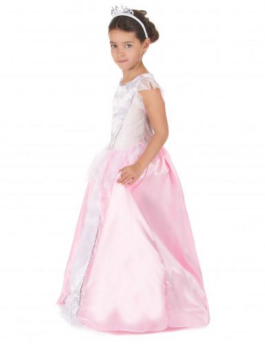 Vaaleanpuna-valkoinen prinsessa-asu lapsille-1