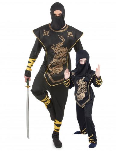 Ninjan naamiaisasu aikuiselle ja lapselle