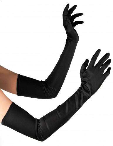 Pitkävartiset, mustat hansikkaat