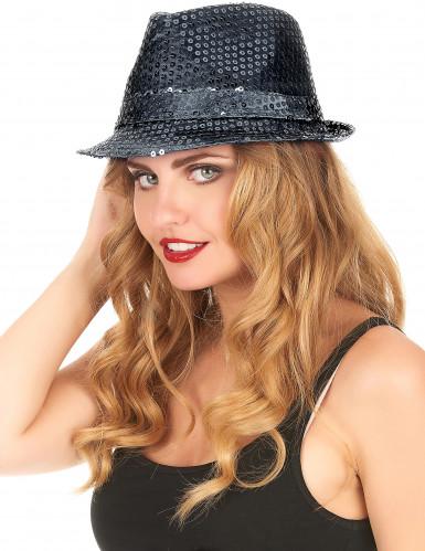 Musta borsalino-hattu aikuisille-2