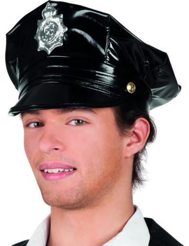 Poliisin musta lippalakki aikuiselle