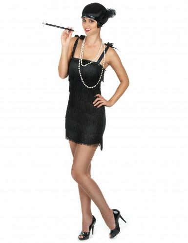 Musta lyhyt charleston mekko hapsuilla - Naamiaisasu teemajuhliin-1