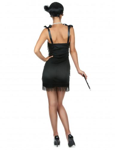 Musta lyhyt charleston mekko hapsuilla - Naamiaisasu teemajuhliin-2